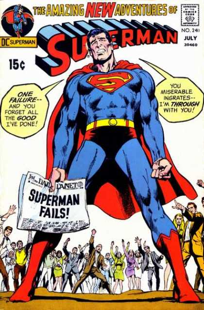 Superman 240 - July - Superman Fails - Red Cape - Red Boots - Yellow Belt - Neal Adams