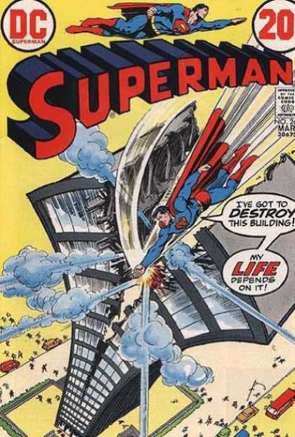 Superman 262 - Destroyed Building - Smoke - Car - Bus - People Running - Nick Cardy