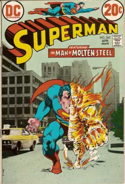 Superman 263 - The Man Of Molten Steel - No 263 - Red Cape - Buildings - Cab - Murphy Anderson, Neal Adams