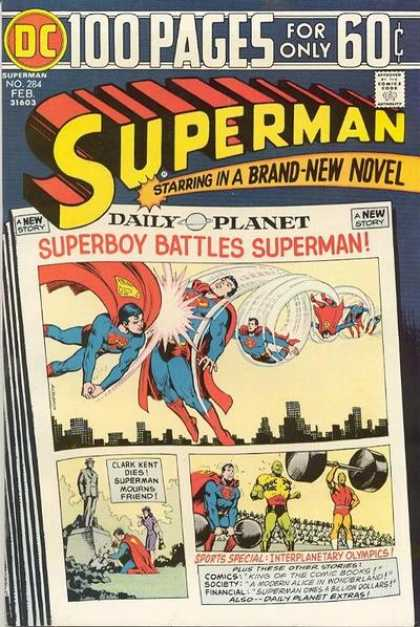 Superman 284 - Superman Vs Superboy - Superboy - Interplanetary Olympics - Clark Kent Dead - Superman In Mourning - Nick Cardy