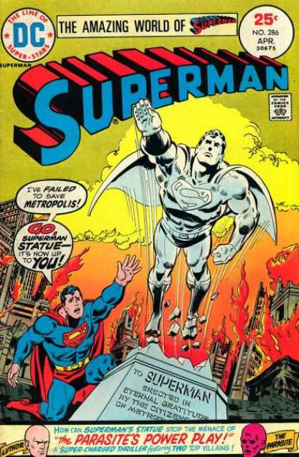 Superman 286 - The Line Of Super-stars - Approved By The Comics Code - Statue - Fire - The Parasites Power Play - Bob Oksner