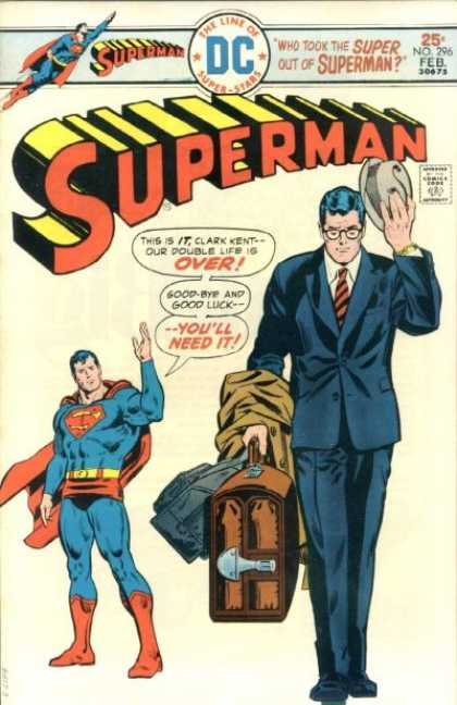 Superman 296 - Superhero - The Line Of Super-stars - Case - Hat - Approved By The Comics Code - Bob Oksner