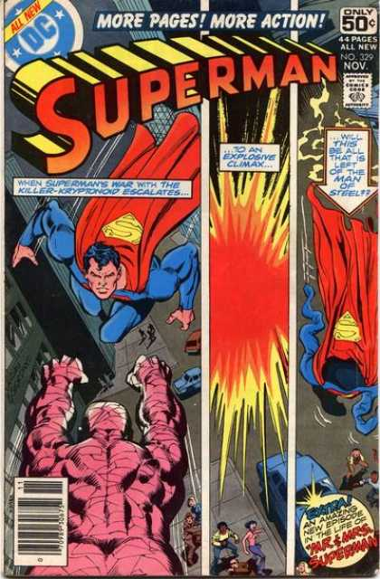 Superman 329 - More Pages More Action - Explosion - Empty Suit - Flying - Killer-kryptonoid - Dick Giordano, Ross Andru