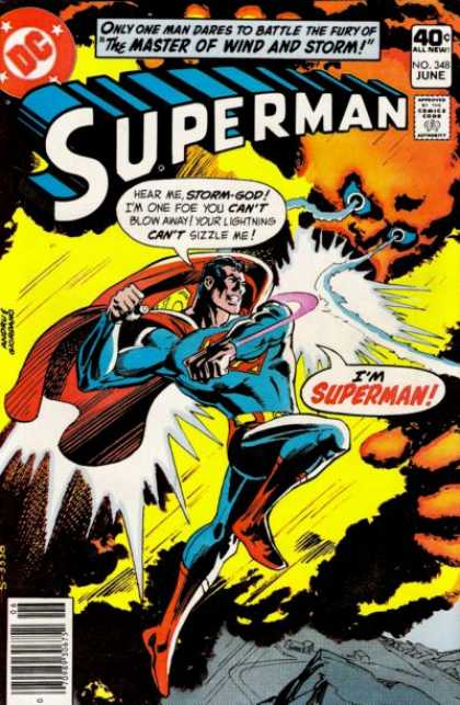 Superman 348 - The Master Of Wind And Storm - Man - Storm-god - Punch - Lightning - Dick Giordano, Ross Andru