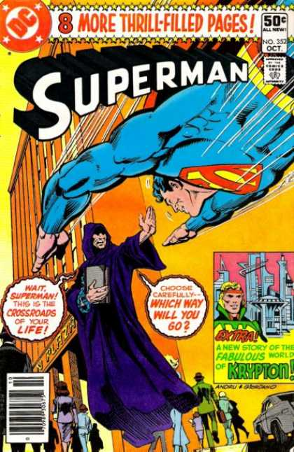 Superman 352 - 50 C All New - Book - Pedestrians - Purple Cape - Orange Headband - Dick Giordano, Ross Andru