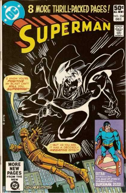 Superman 354 - Black And White - I Know Your Positive - Andru - Introducing The Man Of Steels Grandson - Skyscraper - Dick Giordano, Ross Andru
