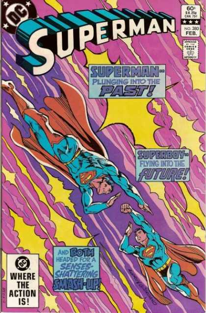 Superman 380 - Dc - Superhero - Plunging Into The Past - Superboy - 60 Cents - Dick Giordano, Ross Andru