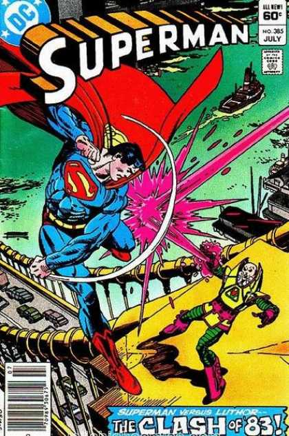 Superman 385 - Luthor - 1983 - Bridge - Ship - Fight