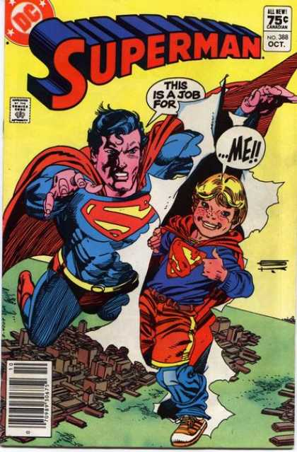 Superman 388 - Superboy - This Is A Job For - Cape - Sky - Town