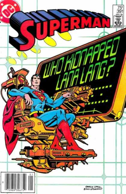 Superman 391 - Awesome Chair - Floating Chair - Superman Throne - Big Monitor - Lana Lang Kidnapped - Dick Giordano