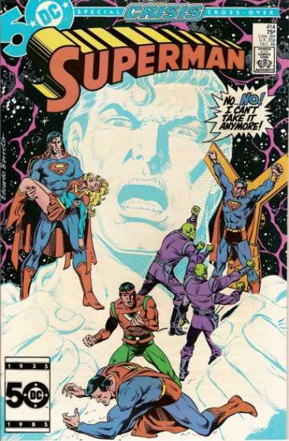 Superman 414 - Crisis - Superhero Comic Book - Dc Comic Book - Superman Tied Up - Superman Holding A Woman - Eduardo Barreto