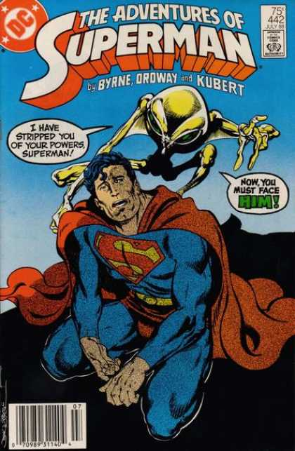 Superman 442 - Stripped Powers - Byrne - Ordway - Kubert - Alien