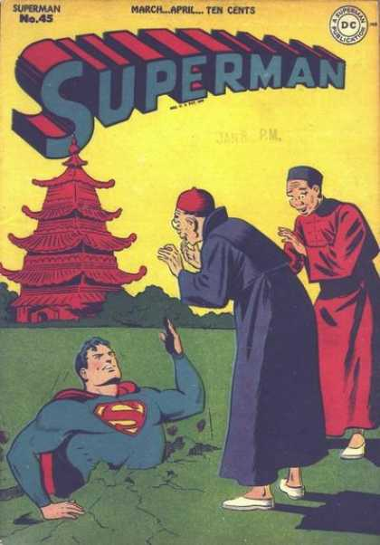 Superman 45 - China - Temple - Earth - Monks - Hole - George Roussos