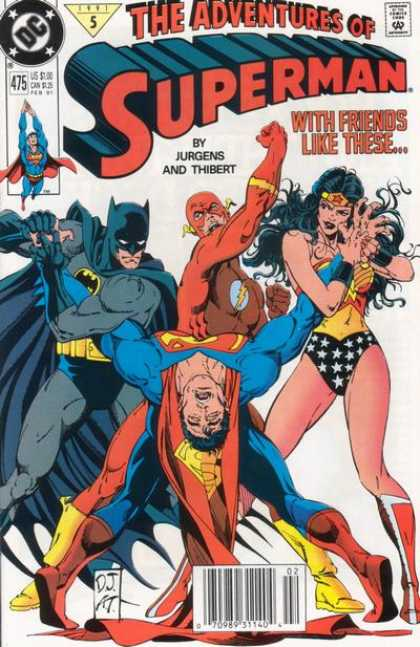 Superman 475 - The Adventures Of Superman - With Friends Like These - Jurgens And Thibert - Batman - Superwoman
