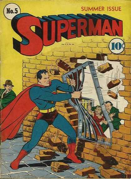 Superman 5 - Summer Issue - 10 Cents - Brick Wall - Strength - Superhero