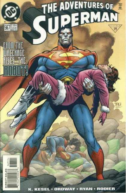 Superman 567 - Robot - Wreckage - Rubble - Smoke - Unconcious