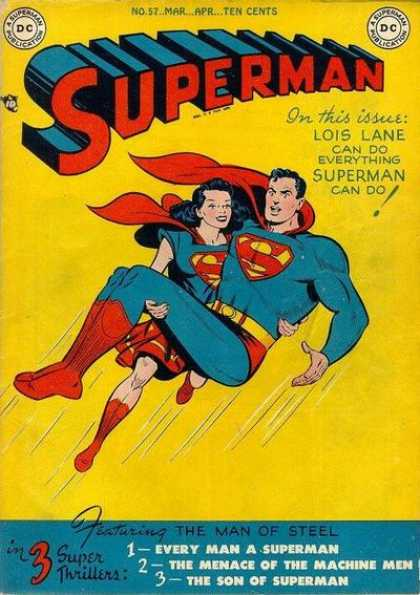 Superman 57 - Dc - No57 - Mar-aphten Cents - 3 Super Thrillers - The Man Of Steel