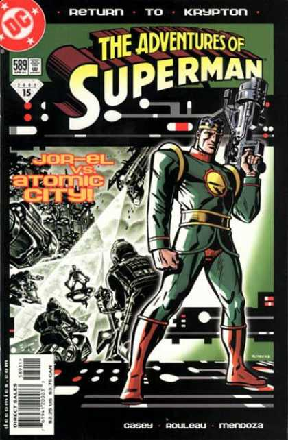Superman 589 - Big Gun - Explosion - Flashback - Laboratory - Black And White