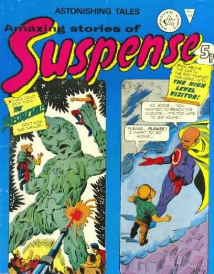 Suspense 118 - Green Man - Holding People - Little Boy - Gun Firing Red Shot - Talking On Clouds