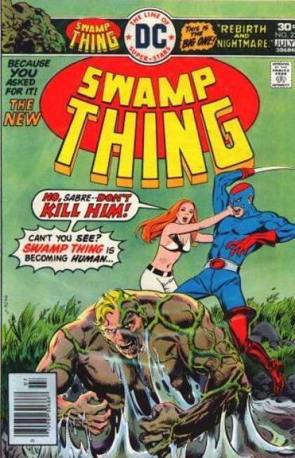Swamp Thing 23 - Sabre - White Bra - Swamp Thing Is Becoming Human - Red Hair - Green Sky - Eric Powell, Ernie Chan