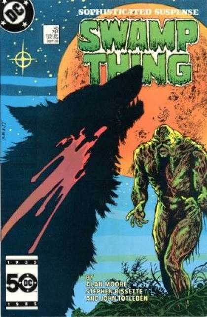 Swamp Thing 40 - Sophisticated Suspense - Swamp Thing - Alan Moore - Moon - Stars - John Totleben