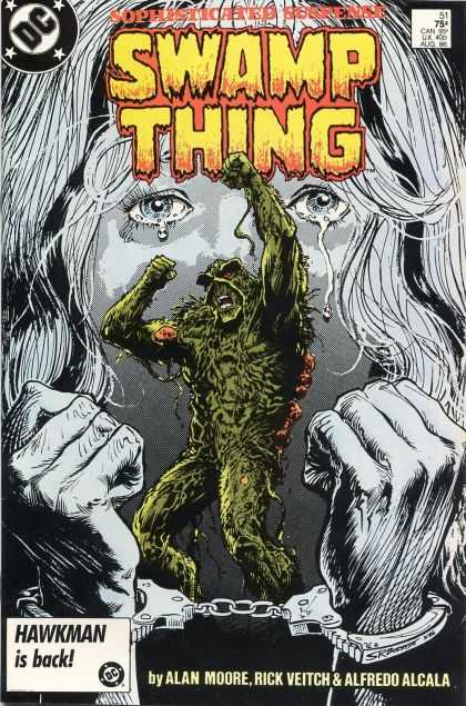 Swamp Thing 51 - Sophisticated Suspense - Crying - Handcuffs - Black And White - Hawkman