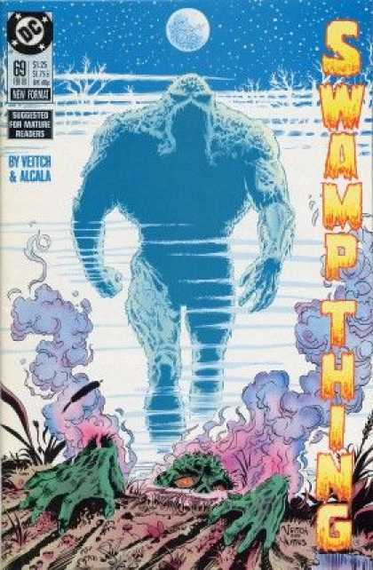 Swamp Thing 69 - Moon And Stars - Light Blue Creature - Vapors And Smoke - Green Claws - In The Dirt - Rick Veitch, Thomas Yeates