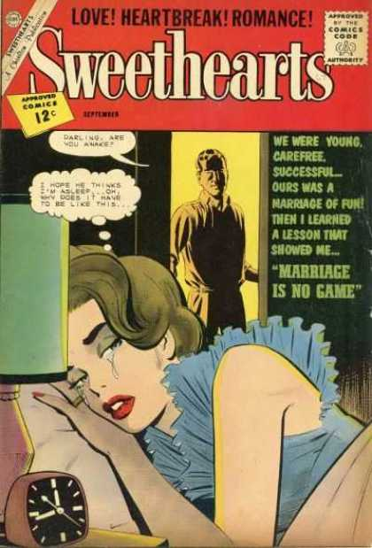 Sweethearts 67 - Love Heartbreak Romance - Marriage Is No Game - Woman In Bed - Man At Door - Tears