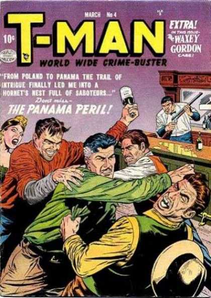 T-Man 4 - World Wide Crime-buster - Man - Rifle - Bottle - Woman