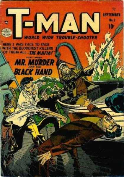 T-Man 7 - Mr Murder And The Black Hand - World Wide Trouble-shooter - The Mafia - Boats - Sea