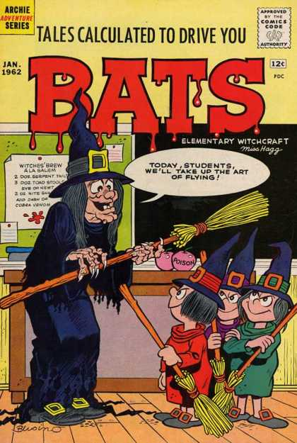 Tales Calculated to Drive You Bats 2 - Witch School - Witch Teacher - Witch Students - Brooms - Buckles Adorning Hats And Shoes