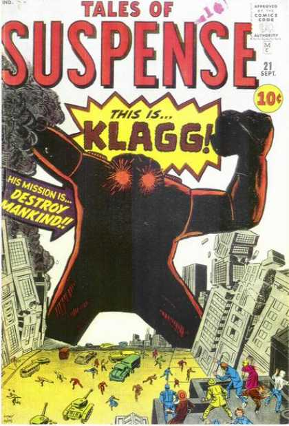 Tales of Suspense 21 - This Is Klagg - Destroy Mankind - Monster - Buildings - Tank - Jack Kirby