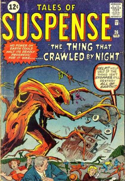 Tales of Suspense 26 - Running Crowd - The Thing That Crawled By Night - Strange Creature - Tree - Deadly Progress