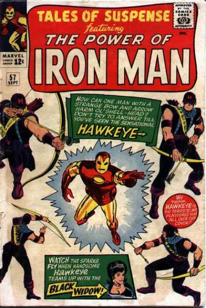 Tales of Suspense 57 - Approved By The Comics Code - Marvel Comics Group - Bow - Hawkeye - Blackwidow