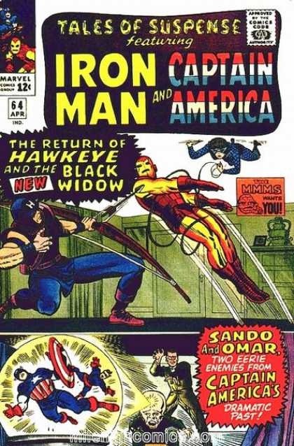 Tales of Suspense 64 - Iron Man - Captain America - Marvel - The Return Of Hawkeye And The Black Widow - Red Boots - Charles Stone, Jack Kirby