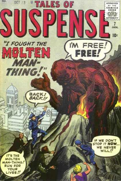 Tales of Suspense 7 - Volcano - Molten Man-thing - Police - Monster - Escape