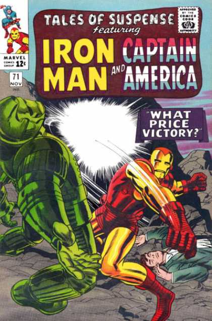 Tales of Suspense 71 - Iron Man - Captain America - What Price Victory - Punch - Superhero - Jack Kirby