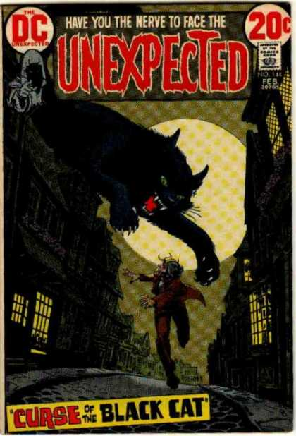 Tales of the Unexpected 144 - Cat - Moon - Curse Of The Black Cat - Man - Person Running
