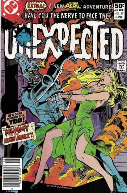 Tales of the Unexpected 211 - Johnny Peril Adventure - Unexpected - Mummy In The Iron Mask - Blue Iron Mask - Woman In Peril