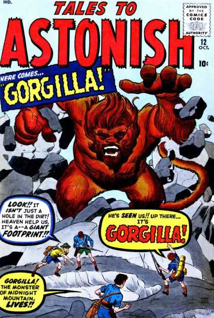 Tales to Astonish 12 - Gorgilla - Approved By The Comics Code - Stone - Footprint - Man - Jack Kirby