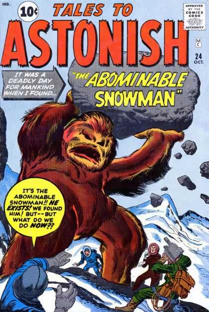 Tales to Astonish 24 - Rock - The Abominable Snowman - Hary Monster - People - Snow - Jack Kirby