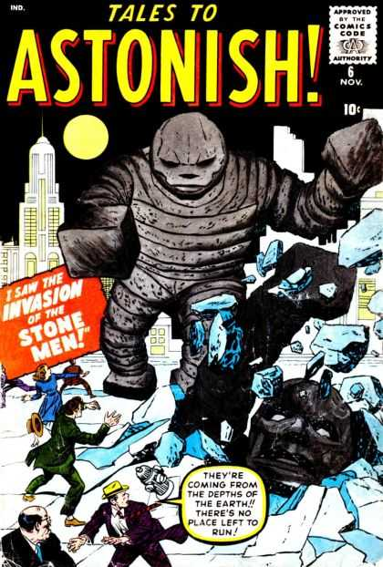 Tales to Astonish 6 - Invasion Of The Stone Men - Large Gray Monsters - Crowds Racing Away - Broken Streets - Full Moon - Jack Kirby, John Buscema