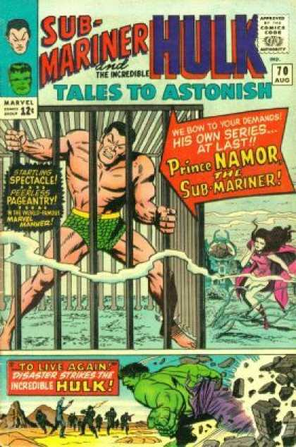 Tales to Astonish 70 - Sub-mariner - Hulk - Cage - Prince Namor - Purple Cape - Jack Kirby
