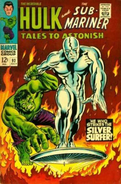 Tales to Astonish 93 - Hulk - Sub-mariner - Silver Surfer - Flames - Surfboard