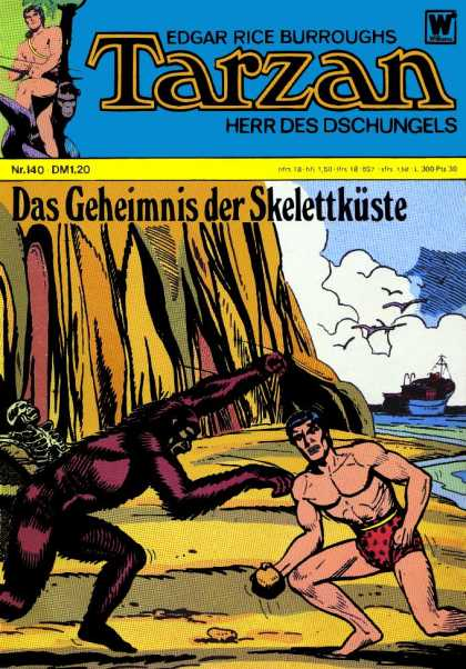 Tarzan (German) 4 - Edgar Rice Burroughs - Skeleton - Beach - Muscles - Ship