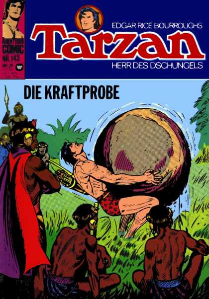 Tarzan (German) 6 - Edgar Rice Bourroughs - Die Kraftprobe - Natives - Carrying Stone Ball - Plain