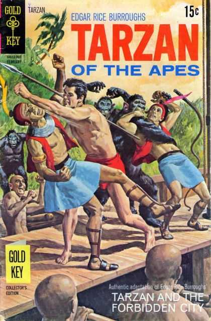 Tarzan of the Apes 57 - Gold Key - Edgar Rice Burroughs - Gorillas - Spears - Men