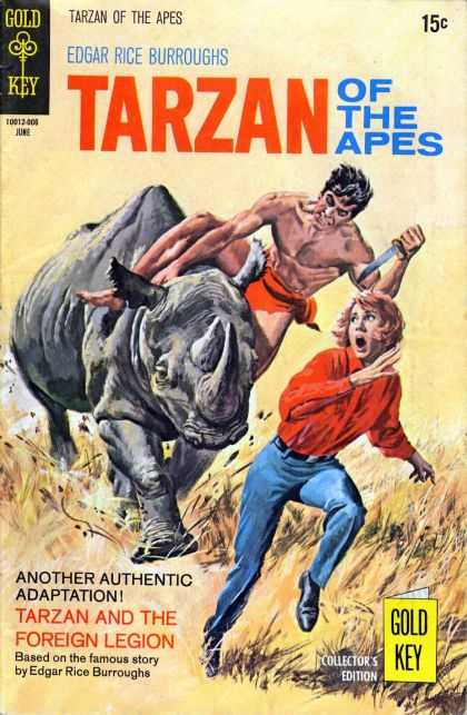 Tarzan of the Apes 59 - Edgar Rice Burroughs - Knife - Rhinoceros - Girl Fleeing From Animal - Grass Field