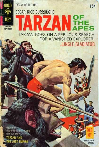 Tarzan of the Apes 62 - Edgar Rice Burroughs - Tarzan Goes On A Perilous Search For A Vanished Explorer - Jungle Gladiator - Gold Key - Collectors Edition