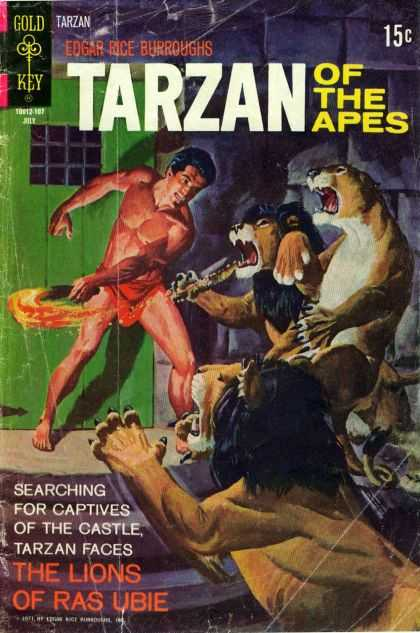 Tarzan of the Apes 68 - Lion - Cave - Fire - Torch - Man